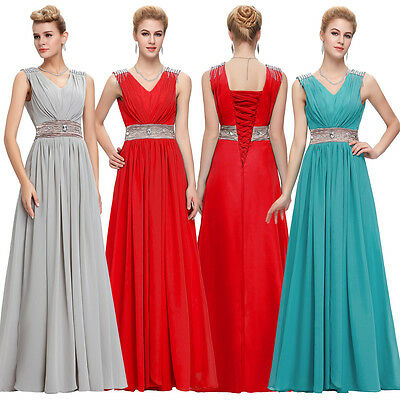 Long Chiffon Lace Evening Formal Party Ball Gown Prom Bridesmaid Dress Size 6~20