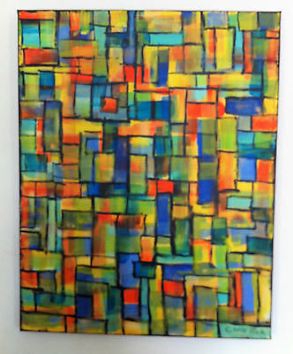 """""""Retro"""" Abstract Painting on Large Canvas Signed"""