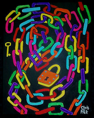Psychedelic Chain  Painting on a Large Canvas Signed