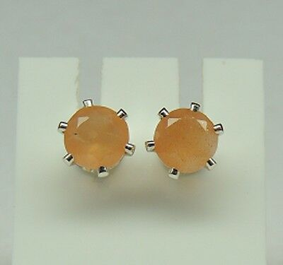 seltener 2,0 Carat orange Mondstein Ohrstecker 925 Silber Ohrring Madagaskar Top