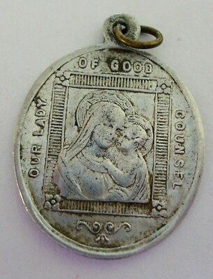 St Rita and Our Lady of Good Counsel Vintage Catholic Medal