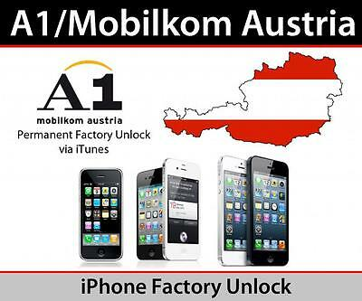 A1 MOBILKOM AUSTRIA IPHONE 4/4s/5/5s/5c/6/6+ OFFICIAL FACTORY UNLOCK
