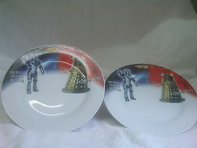 2 x Doctor Who Cybermen & Dalek Plate You Will Be Upgraded or Deleted - VGC