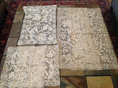 6 Beautiful Vintage Mondano Net Needlelace Lace Table Runners Dresser Scarves