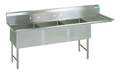"BK Resources (3) 24""x24""x14"" Compartment Sink w/ 24"" Right Drainboard"