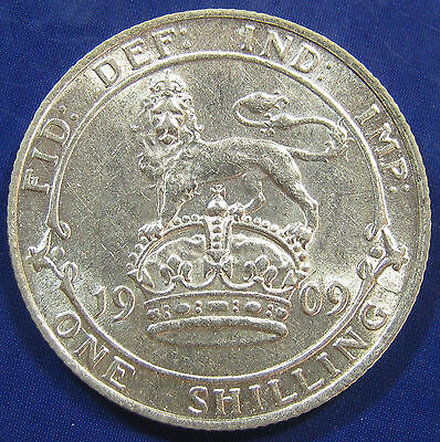1909 1/- Edward VII Scarce silver Shilling - very good date, exceptional grade