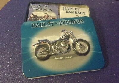 Harley-Davidson Springer Softail Collector's Tin + 2 Decks of Playing Cards ~NEW