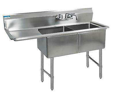 "BK Resources BKS-2-18-12-18L Two 18""x18""x12"" Compartment Sink Left Drainboard"