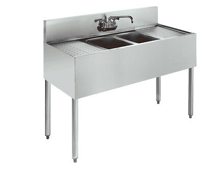 "Krowne Metal 2 Compartment Bar Sink Stainless 19""D w/ Two 12"" Drainboards"