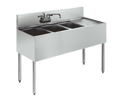 """Krowne Metal KR21-43 3 Compartment Bar Sink 21""""D w/ 12"""" Drainboard Stainless NSF"""