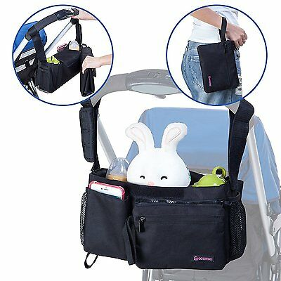 Gotofine 5-In-1 Universal Stroller Organizer Bag with Portable Baby Changing Pad