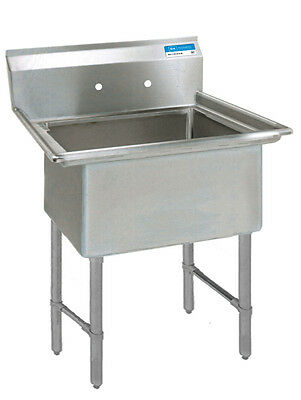 """BK Resources BKS-1-1620-12S One 16""""x20""""x12"""" Compartment Sink w/ S/s Legs"""