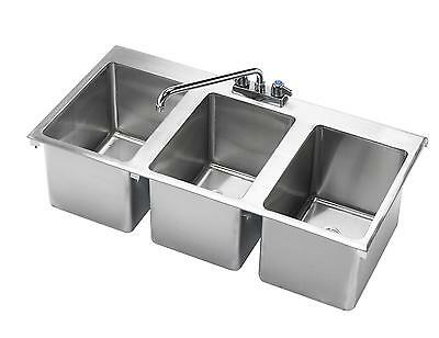 "Krowne Metal HS-3819 3 Compartment Drop-In Hand Sink w/ 12"" Spout Faucet NSF"