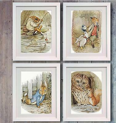 Beatrix Potter Peter Rabbit Set of 4 Picture Print Photo Nursery Wall Decor