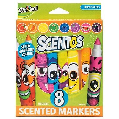 Scentos Fruit Scented Funny Face Markers - Set of 8 Fun Marker Pens!