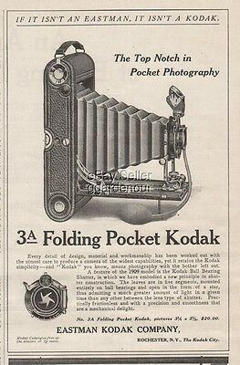 1909 3A Folding Pocket Camera Eastman Kodak Co. Rochester NY photography Ad