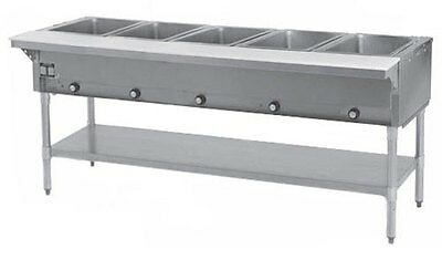 Eagle Group DHT5-1X 5-Well Stationary Electric Hot Food Table & Galvanized Shelf