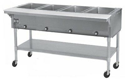 Eagle Group SPDHT4 4-Well Mobile Electric Hot Food Table w/ S/S Shelf & Legs