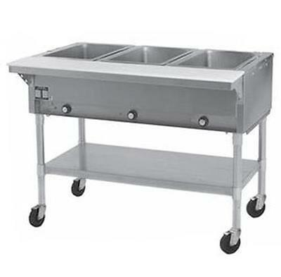 Eagle Group 3-Well Mobile Electric Hot Food Table w/ Galvanized Shelf - PDHT3