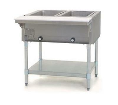 Eagle Group SDHT2 2-Well Stationary Electric Hot Food Table S/S Shelf & Legs