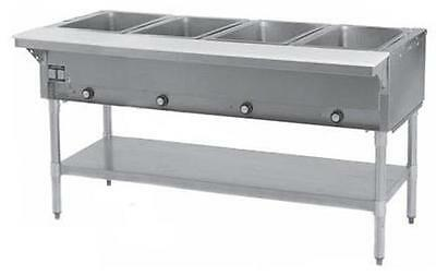 Eagle Group DHT4-1X 4-Well Stationary Electric Hot Food Table & Galvanized Shelf