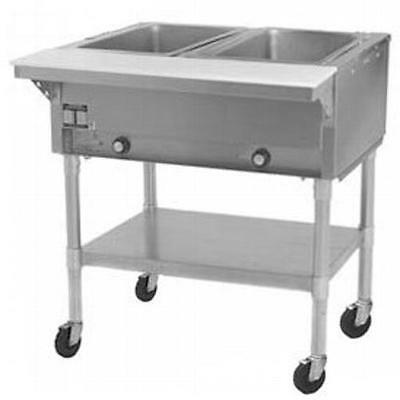 Eagle Group PDHT2 2-Well Mobile Electric Hot Food Table w/ Galvanized Shelf