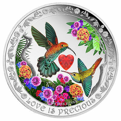 Love is Precious 2016 1 Oz Silver Coin - Hummingbirds Kolibris