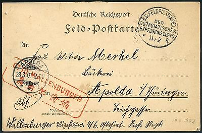 89/DP China Postkarte Feldpost KD Feldpostexpedition a 10/1/1901 nach Apolda