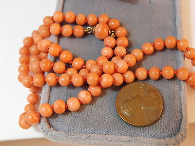 Old Natural British Peach Coral Round Knotted Bead 9c Gold Clasp Necklace 7k 11