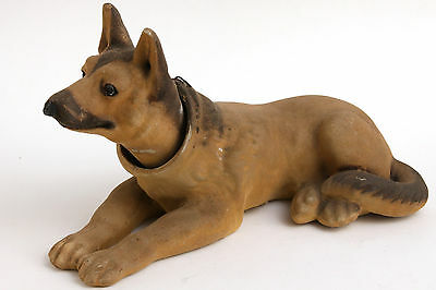 Vtg German Shepherd Bobble Head Dog Nodder Laying Down Flocked Lead Weight Retro