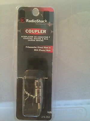 Radioshack Coupler F-Connector (Coax) Male to RCA (Phono) Male 278-253