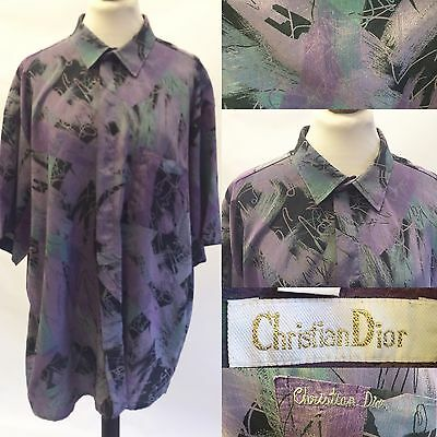 Vintage Mens 80s Christian Dior Pure Silk Patterned Shirt Large Baggy Purple
