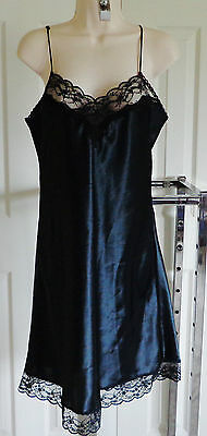ERIKA TAYLOR Solid BLACK NiGHTGOWN 100% Poly Silky+Lace Trim Thin Adj Straps M