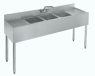"Krowne Metal 18-63C 3 Compartment Underbar Sink 18.5""D w/ Two 18"" Drainboards"