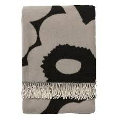 Marimekko UNIKKO Blanket 80% Wool Black & Gray Floral NEW!