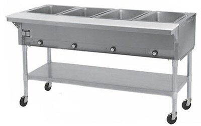 Eagle Group PDHT4 4-Well Mobile Electric Hot Food Table w/ Galvanized Shelf