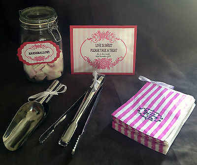 Candy buffet wedding accessories (personalised sign,10 tags,100 bags, scoops)