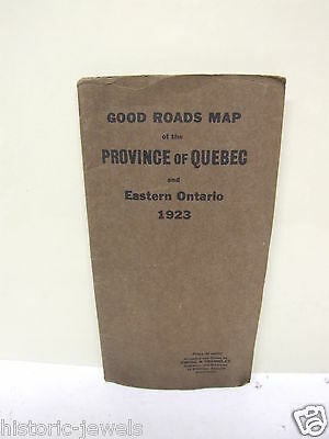 1923 Quebec Ontario road map Canada EWING & TREMBLAY