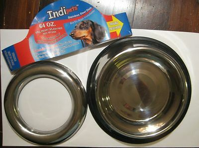 Indipets Stainless Steel Spill Proof - Splash Free No Tip Anti Skid Dish with up