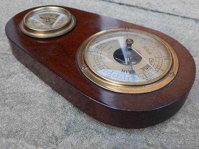 Small Vintage German Gischard Barometer Thermometer Wooden Case Brass Rim