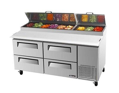 """Turbo Air 67"""" Pizza Prep Table Cooler 9 Pans 4 Drawers TPR-67SD-D4"""