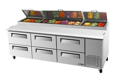 """Turbo Air 93"""" Pizza Prep Table 12 Pans 6 Cooler DrawersTPR-93SD-D6"""