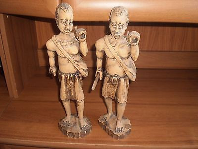Souvenirs Fishermen of Natural Tree from Africa 2 pcs Used