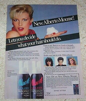 1984 vintage ad - Alberto-Culver Hair Styling Mousse GIRL print ADVERTISING