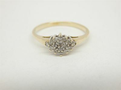 10K Solid Yellow Gold Diamond Cluster Ring Size 7.5 r248