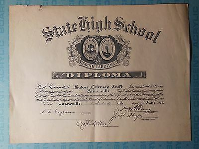 South Carolina state high school diploma, 1933, Eutawville, Isadore C. Croft