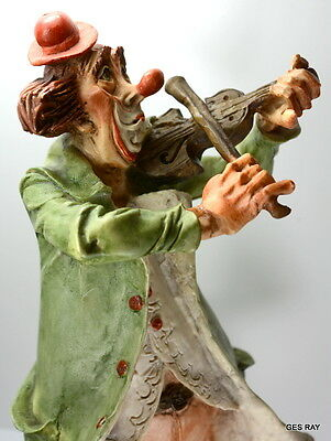 Vintage Collectibles Capodimonte Italy Playing Clown Figurine Statue Violin