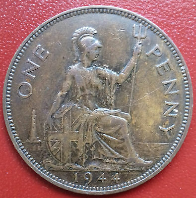 1944 Penny. Wide Date. Mint Darkened As Issued. George V1 British Bronze Coins.