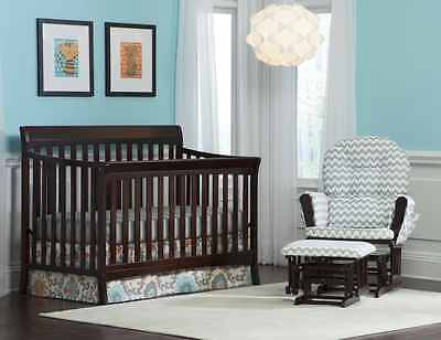 Avalon 4 in 1 Baby / Infant Crib Bed, Nursery Furniture, Convertible, Espresso