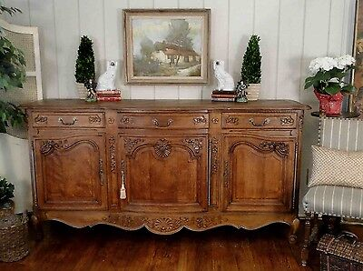 Antique French Country Louis XV Buffet Sideboard Server 3 Door Carved Oak Shell